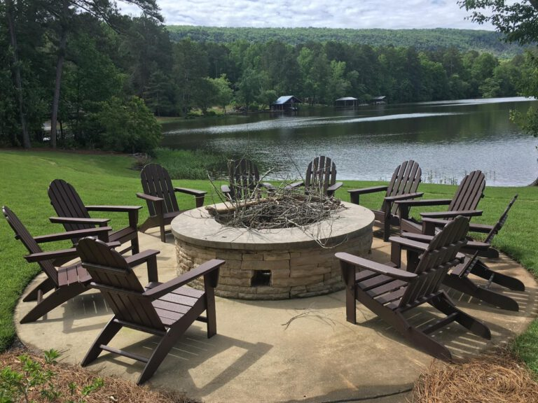 POLYWOOD - Adirondack Chairs by Fire Pit at the Lake - For Sale at ABSCO in Birmingham Alabama